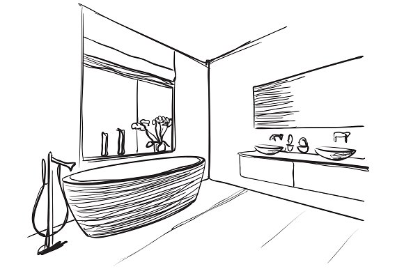 Bathroom Interior Sketch