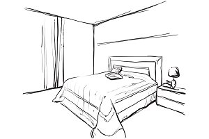 Bedroom interior. Sketching