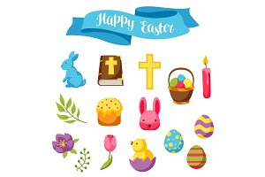 Happy Easter set of decorative objects, eggs and bunnies