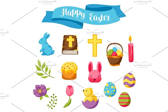 Happy Easter Set Of Decorative Objects Eggs And Bunnies