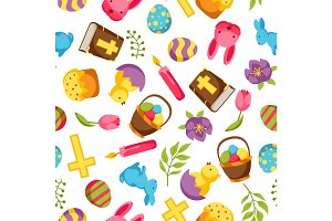 Happy Easter seamless pattern with decorative objects, eggs and bunnies