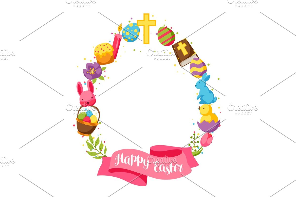 Happy Easter frame with decorative objects, eggs and bunnies