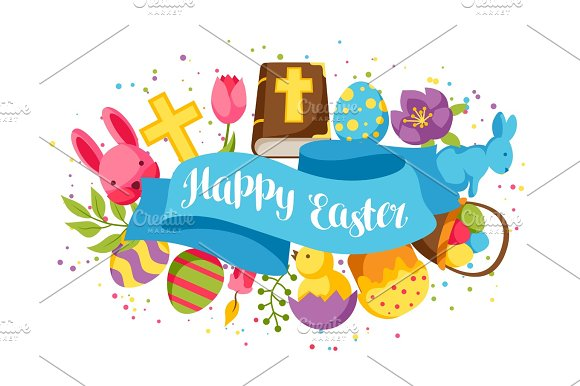 Happy Easter Greeting Card With Decorative Objects Eggs And Bunnies