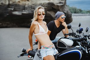 Pretty couple bikers portrait