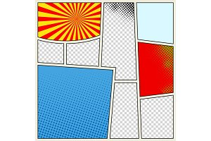 Comics book background in different colors. Blank template background. Pop-art style