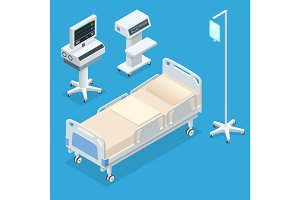 Flat 3D vector illustration Isometric interior of hospital room. Hospital room with beds and comfortable medical equipped in a modern hospital.