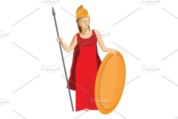 Mythological Greek Athena Holding Spear And Shield In Red Dress