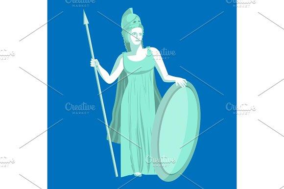 Athena Or Athene Marble Statue On Blue Background Pallas Goddess