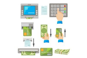 ATM usage concept set with money and credit card