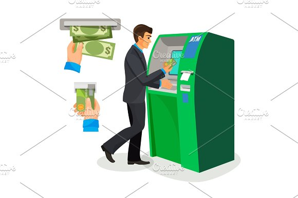 Man Near ATM Holding Credit Card And Its Usage Sign