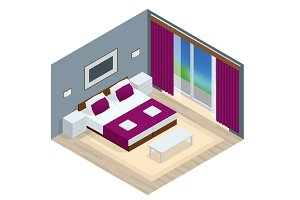 Isometric Bedroom interior. Interior of a modern new hotel apartment