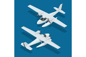 Isometric plane hydro aircraft. Air transportation infographics, vector illustration.