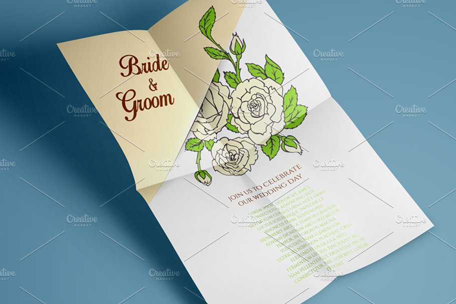 Roses desidn + pattern in Wedding Templates - product preview 8