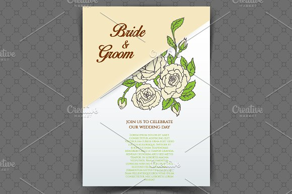 Roses desidn + pattern in Wedding Templates - product preview 1