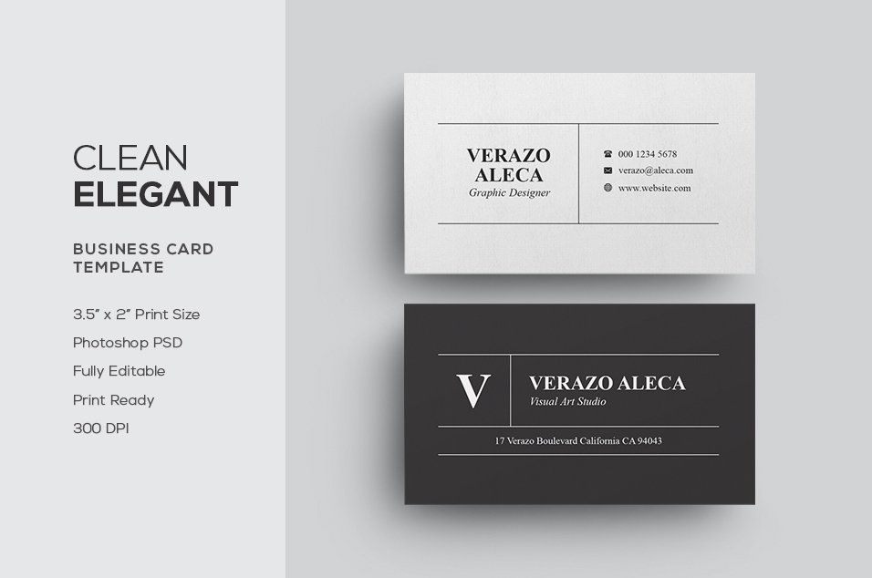 Clean Elegant Business Card ~ Business Card Templates ~ Creative ...