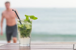 Mojito cocktail with ice