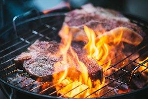 Beef steaks grill