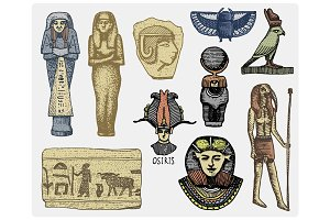 egyptian symbols, pharaon, scorob, hieroglyphics and osiris head, god vintage, engraved hand drawn in sketch or wood cut style, old looking retro, isolated vector realistic illustration.