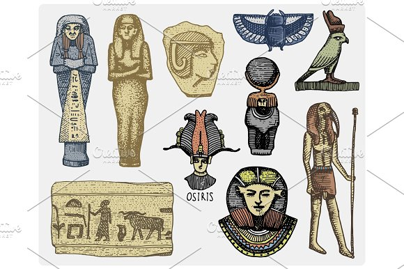 Egyptian Symbols Pharaon Scorob Hieroglyphics And Osiris Head God Vintage Engraved Hand Drawn In Sketch Or Wood Cut Style Old Looking Retro Isolated Vector Realistic Illustration