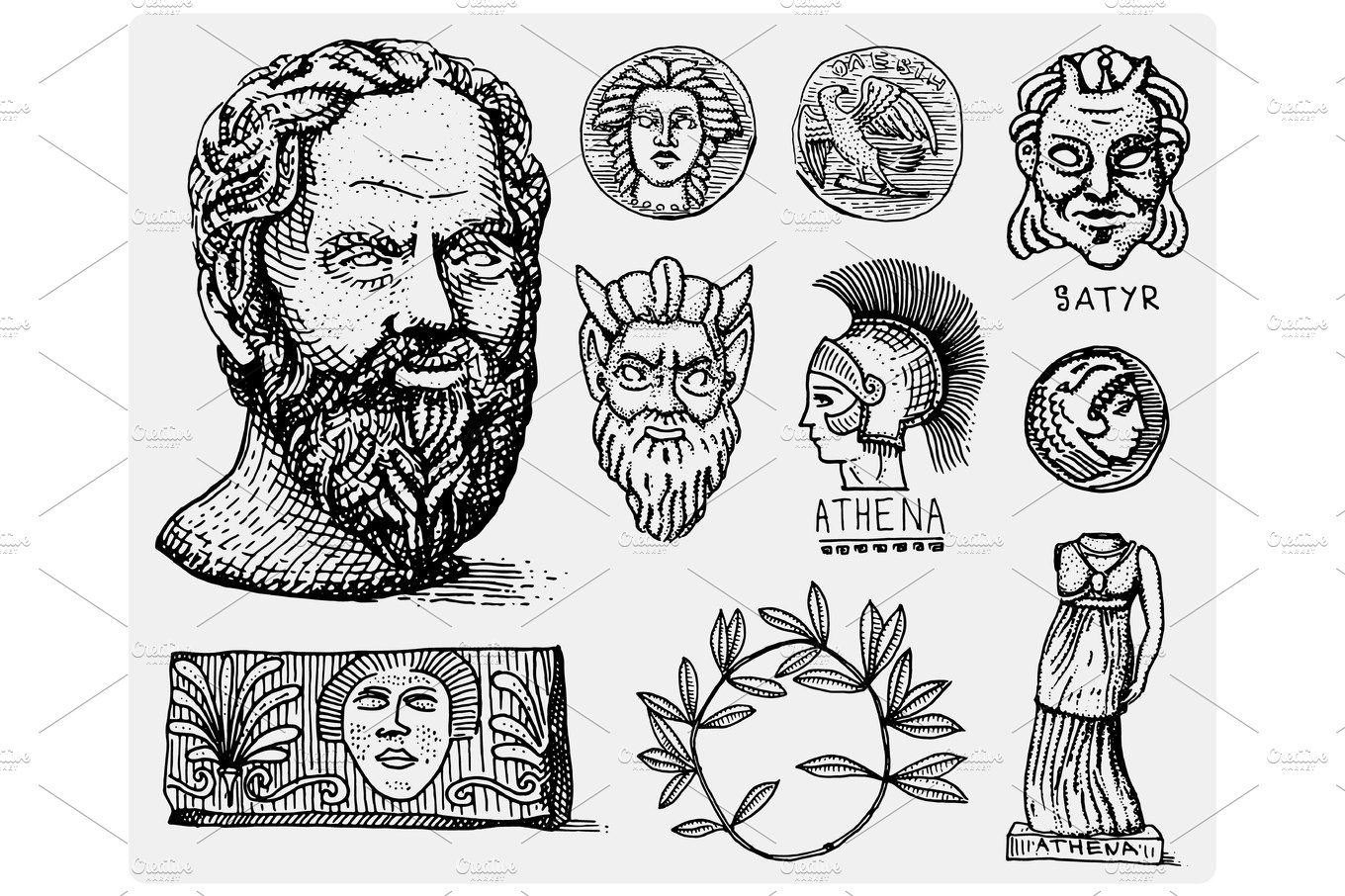 Ancient greece antique symbols socrates head laurel wreath ancient greece antique symbols socrates head laurel wreath athena statue and satyr face with coins vintage engraved hand drawn in sketch or wood cut biocorpaavc