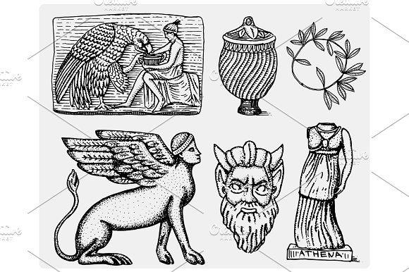 Ancient Greece Antique Symbols Ganymede And Eagle Anphora Vase Athena Statue And Satyr Mask Vintage Engraved Hand Drawn In Sketch Or Wood Cut Style Old Looking Retro Isolated