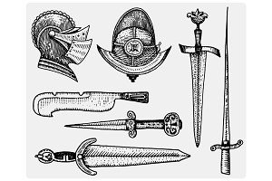 medieval symbols, Helmet and swords, knife vintage, engraved hand drawn in sketch or wood cut style, old looking retro, isolated vector realistic illustration.