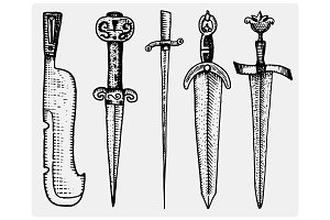 medieval symbols big set of swords, knife and mace vintage, engraved hand drawn in sketch or wood cut style, old looking retro, isolated vector realistic illustration, heraldic.