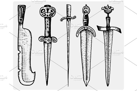 Medieval Symbols Big Set Of Swords Knife And Mace Vintage Engraved Hand Drawn In Sketch Or Wood Cut Style Old Looking Retro Isolated Vector Realistic Illustration Heraldic