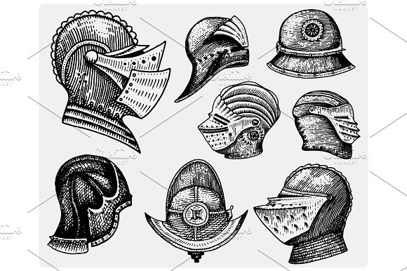 Set Of Medieval Symbols Battle Helmets For Knights Or Kings Vintage Engraved Hand Drawn In Sketch Or Wood Cut Style Old Looking Retro Roman