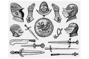 big set medieval symbols, Helmet and gloves, shield with dragon and sword, knife and mace, spur vintage, engraved hand drawn in sketch or wood cut style, old looking retro