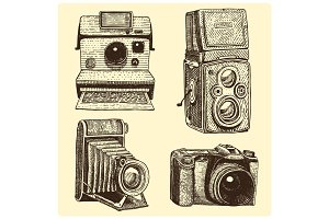 set of instant, vintage and modern Photo camera , engraved hand drawn in sketch or wood cut style, old looking retro lens, isolated vector realistic illustration