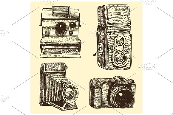 Camera Vintage Vector Free : Set of instant vintage and modern photo camera engraved hand