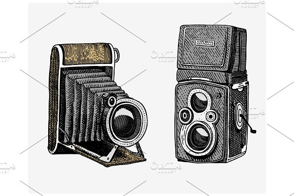 Photo Camera Vintage Engraved Hand Drawn In Sketch Or Wood Cut Style Old Looking Retro Lens Isolated Vector Realistic Illustration