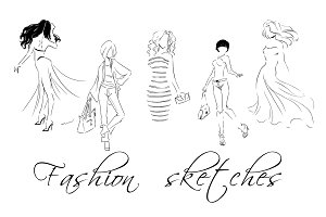 Fashion sketches, set