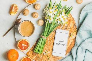 Morning coffee, cookies, red oranges