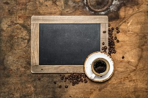 Coffee and vintage chalkboard