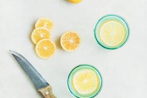 Morning detox lemon water in glasses