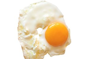 Fried egg isolated over white