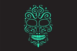 Skull vector neon ornament
