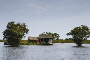 House on Tonle sap lake. Cambodia