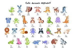 Cartoon animals alphabet