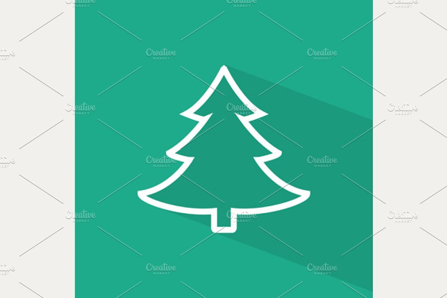 Christmas Tree Icon.Flat Christmas Tree Icon