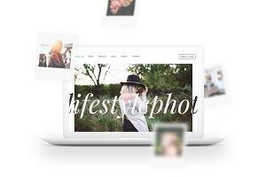 MacBook™ Mockup w/ Polaroids Falling