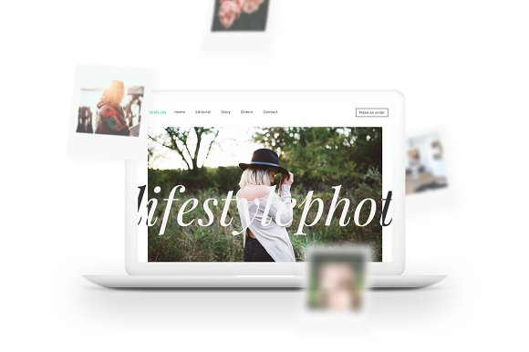 MacBook Mockup W Polaroids Falling