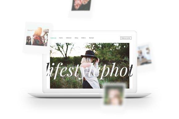 MacBook Mockup W Polaroids Falling