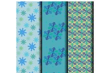 Set of seamless pattern of snowflake