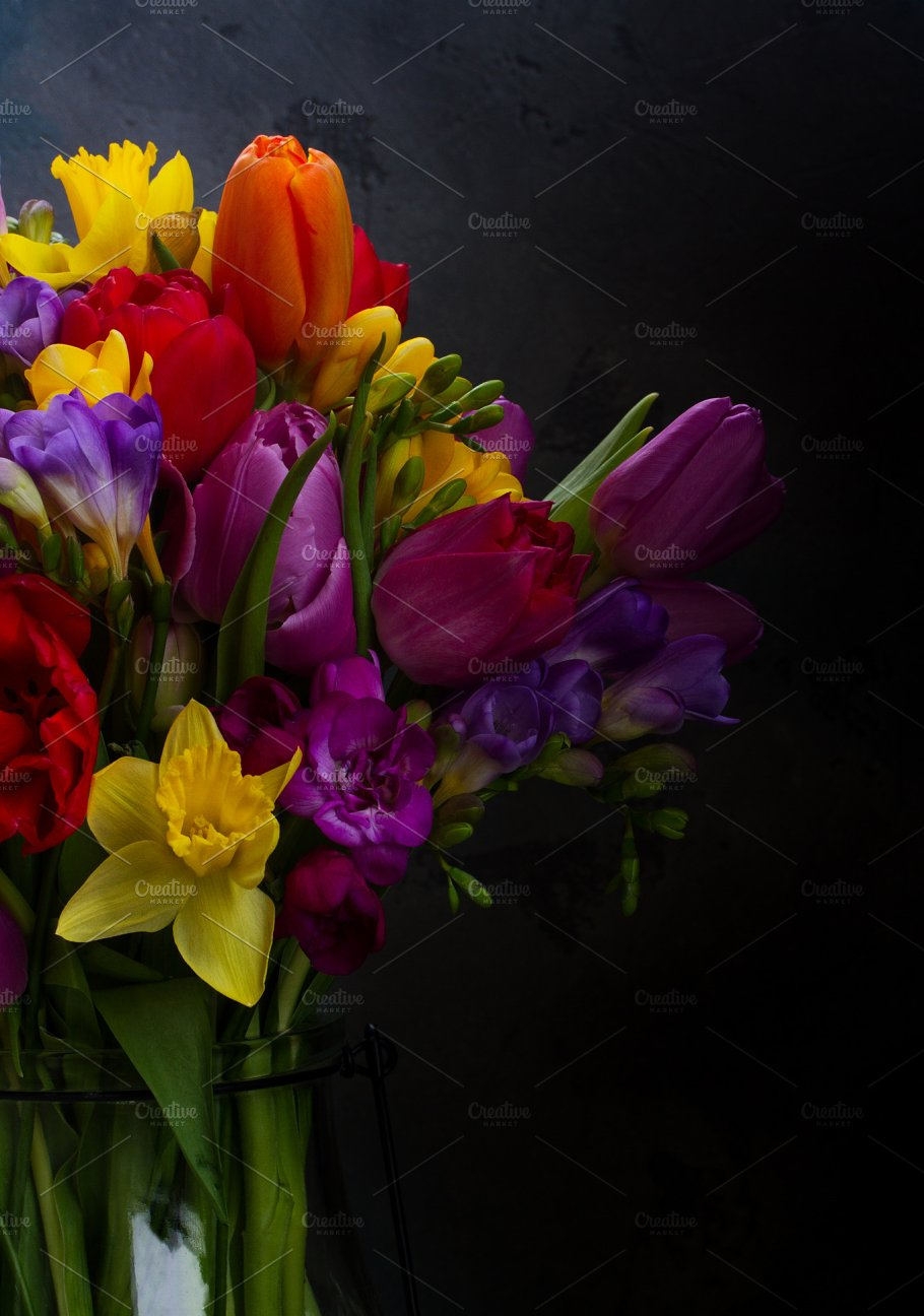 Bouquet Of Bright Spring Flowers Nature Photos Creative Market