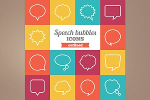 Outlined speech bubbles icons