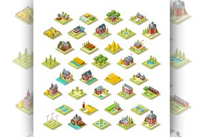 Isometric City Map Farm Building