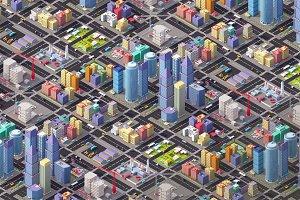Cartoon Low Poly Megapolis city 3d illustration